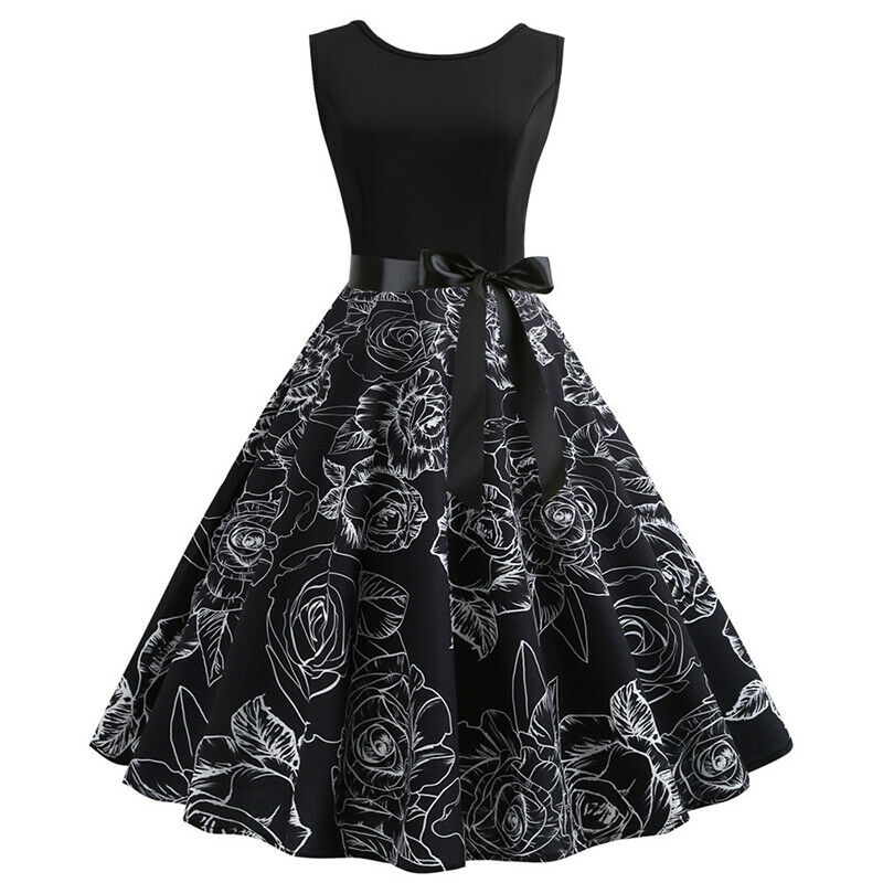 Womens 50s 60s Style Vintage Rockabilly Floral Pinup Swing Evening Party Dress 3