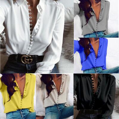 US Fashion Women Ladies V-Neck Long Sleeve Loose Blouse Summer Casual Shirt Tops