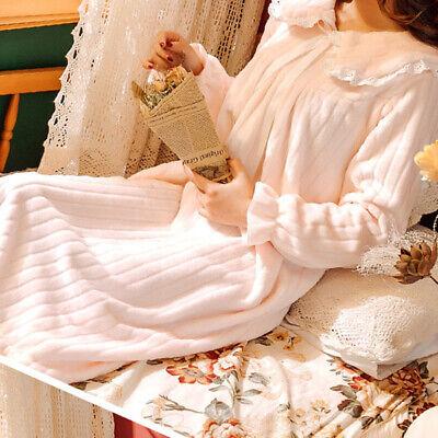 Lady Girls Corel Fleece Nightdress Long Sleeve Nightgown Sleepwear Lolita Sweet 8