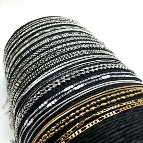 Lots 925Sliver Filled Gold Rolo Curb Snake Figaro Wave Chain Necklace Jewelry 6