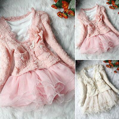 Ragazza Bambino Abbinamento Rosa Bianco giacca Gonna tutu festa di nozze Set 2