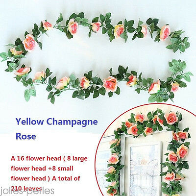 2.25m Artificielle Rose Guirlande de soie Fleur Mariage Party Home Decor 6