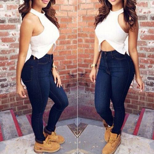 Damen High Waist Jeanshose Stretch Skinny Jeans Treggings Jeggings Denim Hosen 8