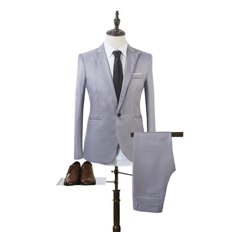 Mens Slim Fit Formal Business Work Tuxedos Suit Blaze Coat Pants Wedding Prom 5