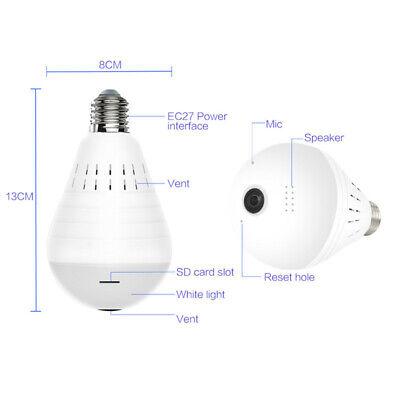P2P HD 960P 360° Panoramic Wifi Control IP Light Bulb Home Security Alarm Camera 5