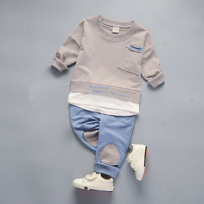 Kids toddler Baby boys girls outfits cotton tops+pants boys casual tracksuit 4