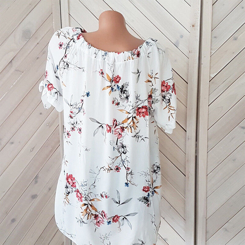Plus Size Womens Floral Off Shoulder Blouse Ladies Casual Loose Tunic Tops 8-22 4