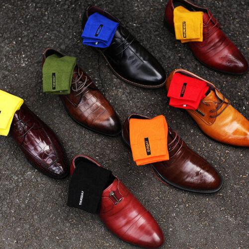 2Paire Homme Chaussette Socquette Coton Couleur Unie Broderie Affaire Style Mode 3