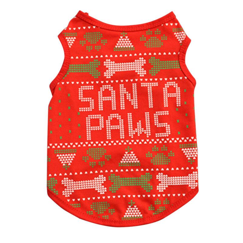 Pet Dog Cat Christmas Santa Clothes Puppy Warm Jumper Costume Outfit Vest UK 7