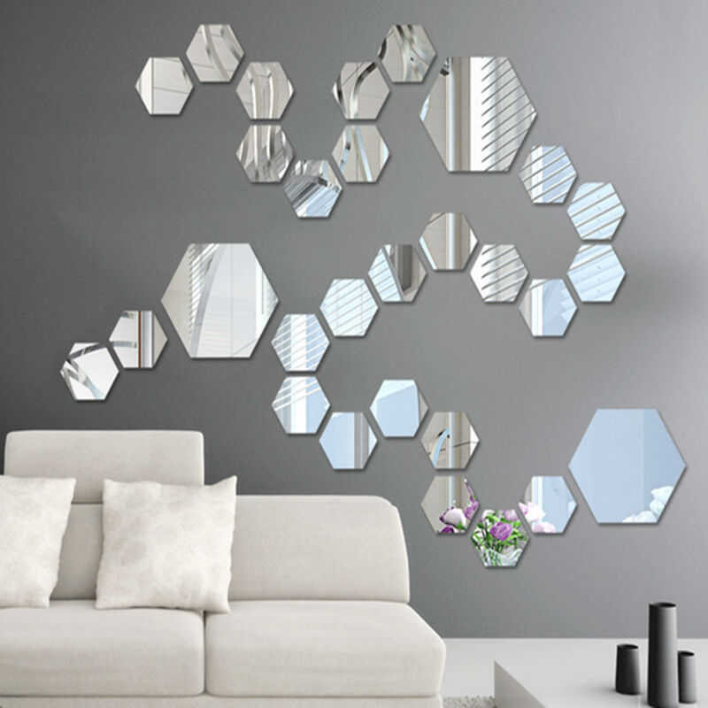 Removable mirror decal art mural wall stickers home decor for Room decor 5d stickers
