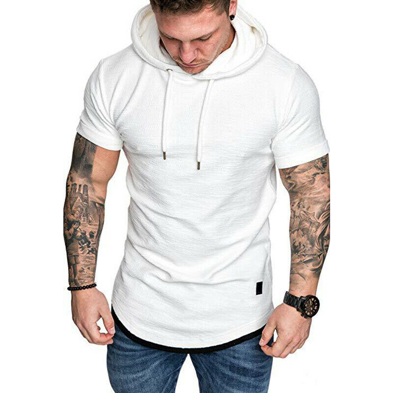 Gym Men Sleeveless Vests Pullover Hoody Hooded Tank Tops Muscle Clothes T-Shirts 3