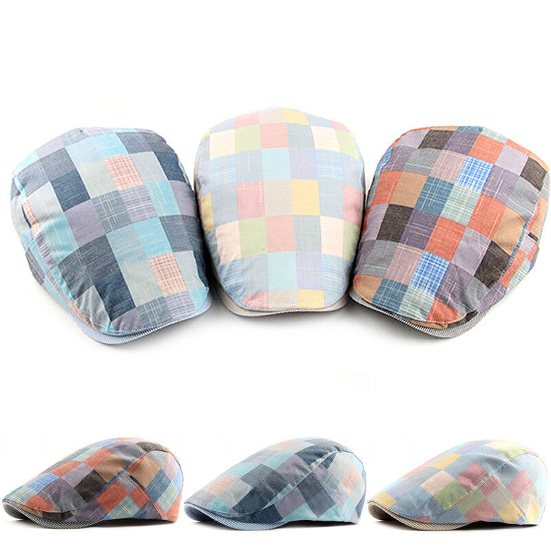 985d962756c4b Men s Cabbie Newsboy and Ascot Plaid Ivy Button Hat Cap Gatsby Golf Ivy  Caps US 3 3 of 12 ...
