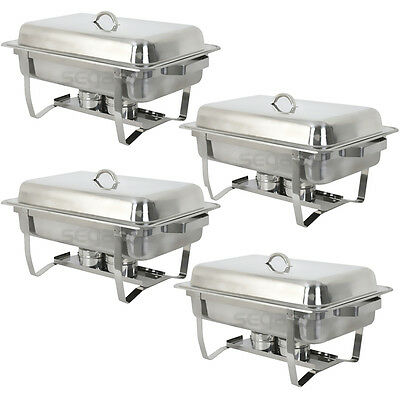 4 Pack Catering Stainless Steel Chafer Chafing Dish Sets 8 Qt Party Pack 2