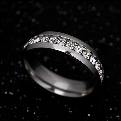 316L Stainless Steel Wedding Silver/Gold Band Men Women Couple CZ Ring Size 5-13 4