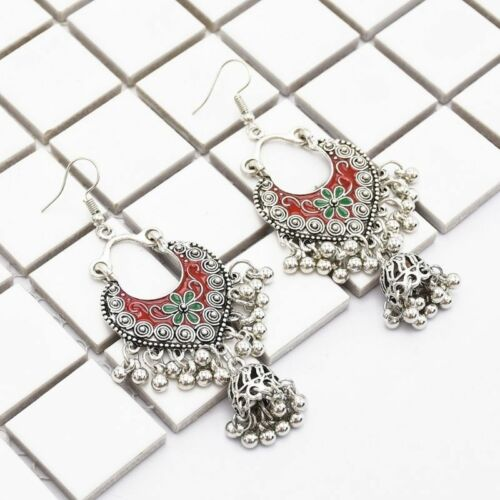 Vintage Sliver Bollywood Jewelry Meenakari Jhumki Jhumka Drop Earrings for Women 4