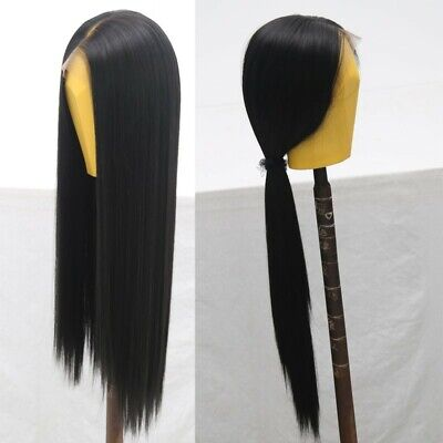 """AU 24"""" Natural Straight Synthetic Fiber Hair Handtied Off Black Lace Front Wig 3"""