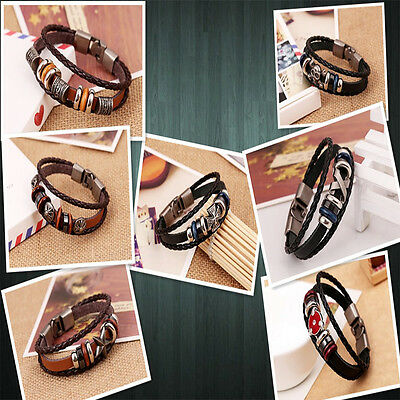 Brilliant  Punk Unisex Women Men Wristband Metal Studded Leather Bracelet 4
