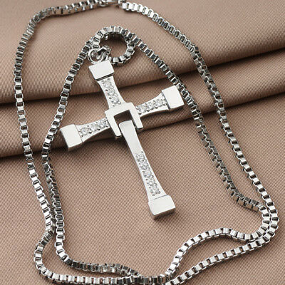 Cross Pendant Necklace Silver Stainless Steel Unisex's Chain Crucifix Men Women 4