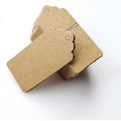 100 Pcs Kraft Paper Gift Tags Wedding Scallop Label Blank Luggage Tag 4*2cm UK 3