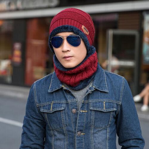 Men Women Winter Crochet Knit Beanie Wool Skull Hat Thermal Ski Cap Scarf Unisex 8
