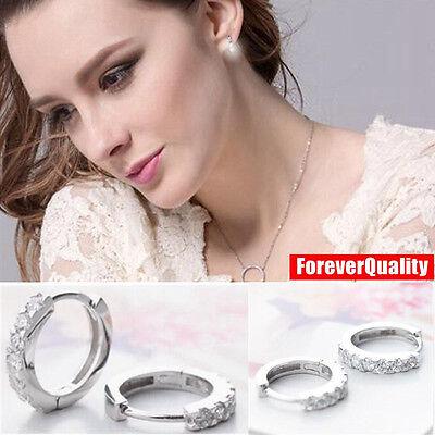 Charm Crystal 925 Sterling Silver Stud Hoop Earrings Fashion Women UK Jewelry 3