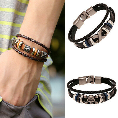 Brilliant  Punk Unisex Women Men Wristband Metal Studded Leather Bracelet 10