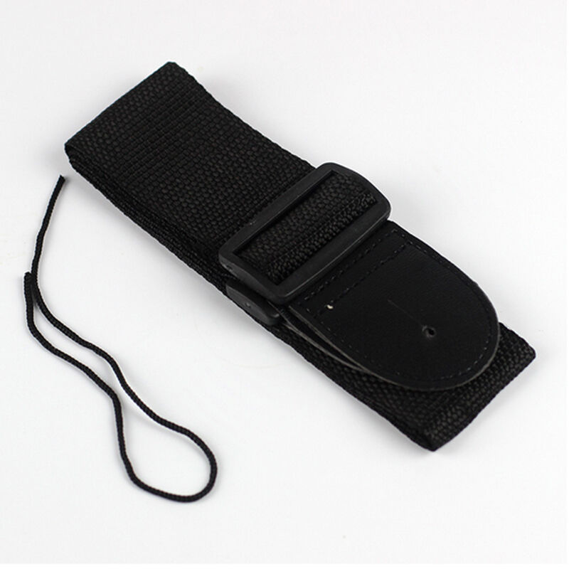 Adjustable Black Soft Leather Thick Strap Belt For Electric Acoustic Guitar Bass 4