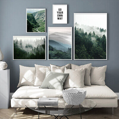 Misty Foggy Forest Nature Scenery Poster Nordic Landscape Canvas Wall art Print 3