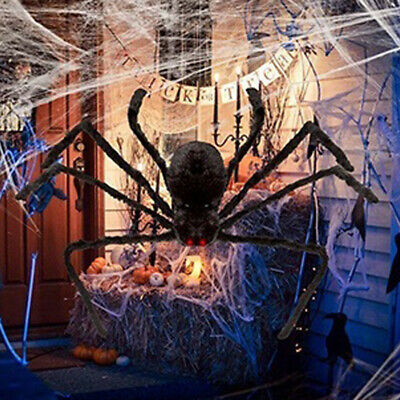 200CM/6.6FT Plush Giant Spider Decoration Halloween Haunted House Garden Props 3