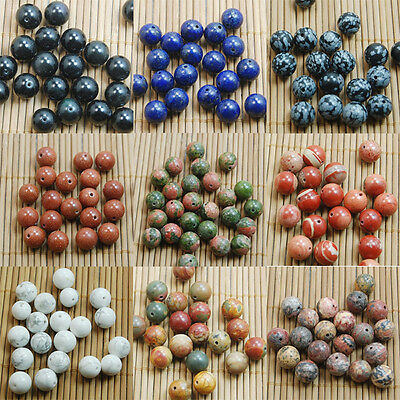 Natural Gemstone Round Spacer Loose Beads 4mm 6mm 8mm 10mm Assorted Stones DIY 9