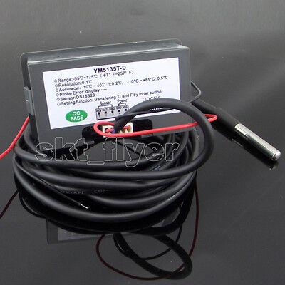1pcs 2m F//C Digital LED 12V dc Car Temp Meter Thermometer DS18B20 Sensor Temp
