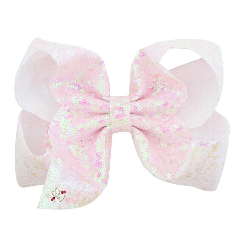 8 Inch Kids Girls Baby Glitter Sequin Cute Bowknot Hair Clips Hair Bows Hairpins 10