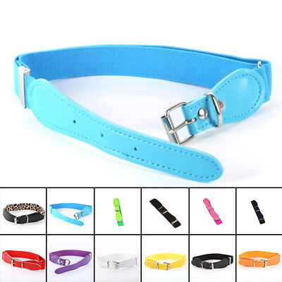 Toddler Candy Color Waist Belt Buckle PU Leather Kids Girls Boys Waistband Newly 10