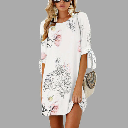 Women Floral Printed Long Tops Blouse Summer Beach Tunic Dress Plus Size 6-22 8