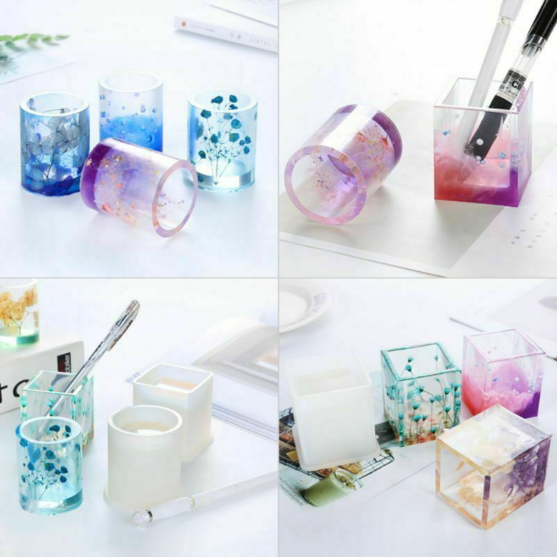 DIY Silicone Mold Pen Container Square Round Storage Holder Epoxy Resin Molds 2
