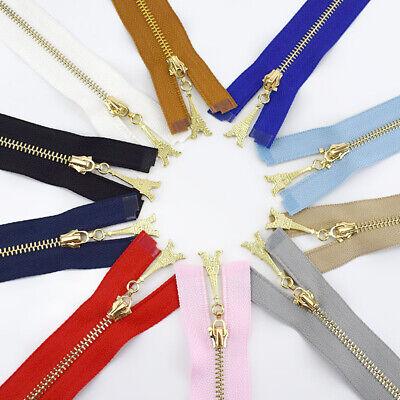 1Pc 20/40/50/60/70CM  Gold Teeth Metal Zips Sewing Zip Garment Accessories 2