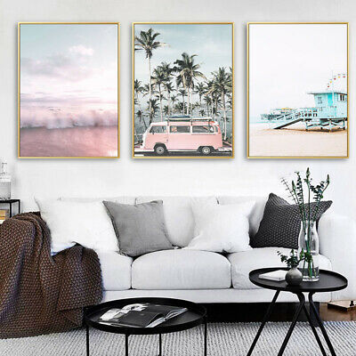 Pink Bus Beach Wall Art Canvas Poster Nordic Style Print Picture Home Decoration 2