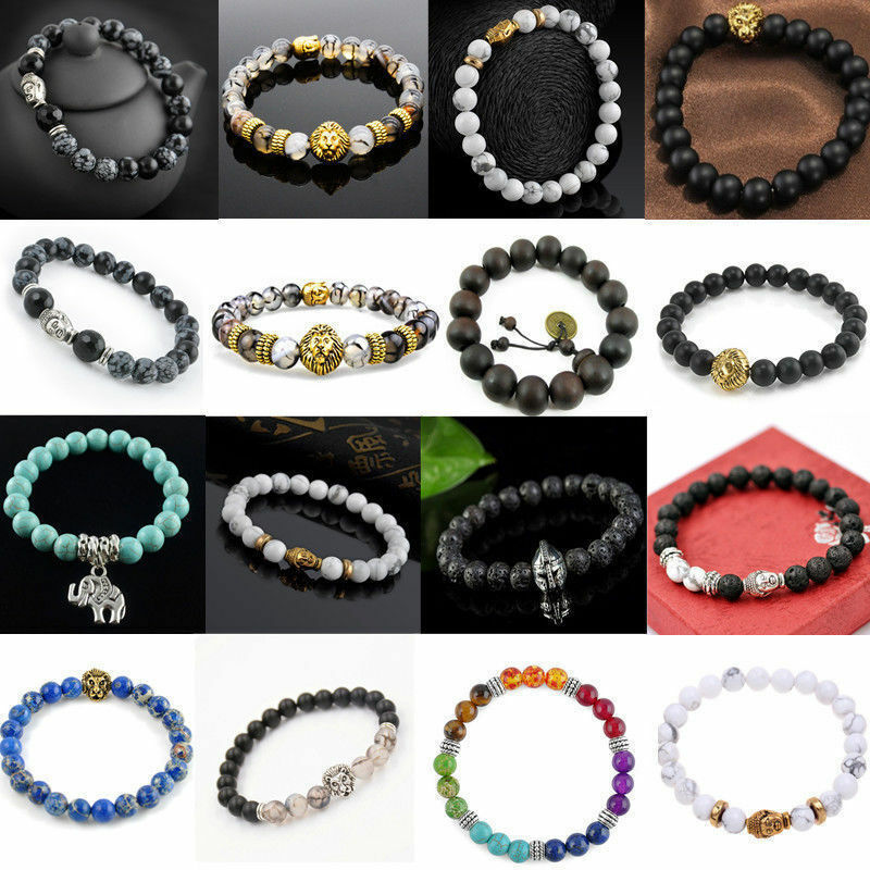 Men Women Natural Gemstone Beads Lava Rock Stone Bracelet Lion/Buddha Head Bead 3