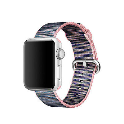 Genuine Apple 38mm Watch Woven Nylon Band, Light Pink/Midnight Blue - VG