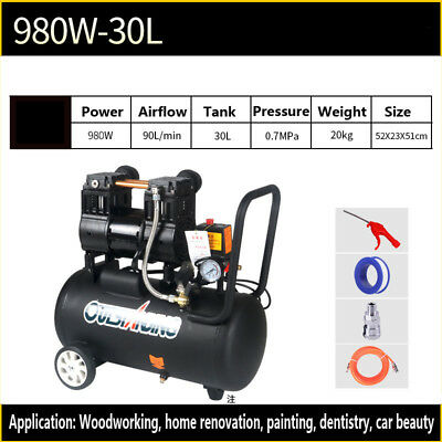New Portable 30/40L Dental Medical Air Compressor Silent Noiseless Oilless 3