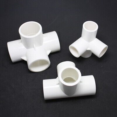 20mm PVC Tee 3 Way Water Pipe Tube Adapter Connectors White 5 Pcs H5K4 4X