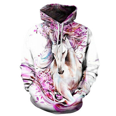 Autumn 3D Horse Fish Printed Mens Hoodies Sweatshirt Pullover Thick Casual Tops