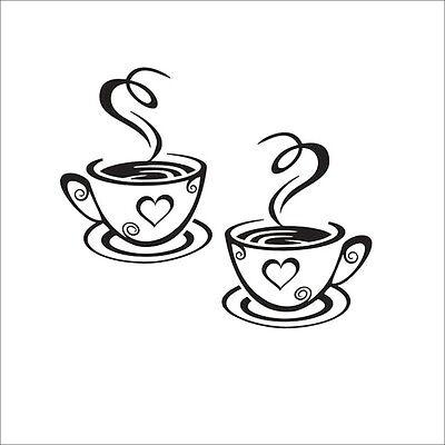 Coffee Cups Cafe Tea Wall Stickers Art Vinyl Decal Kitchen Restaurant Pub Decor 5