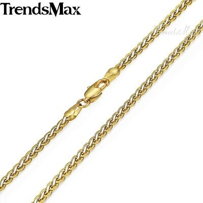 Silver & Gold Braided Wheat Link Gold Filled Necklace Womens Mens Chain Unisex 4
