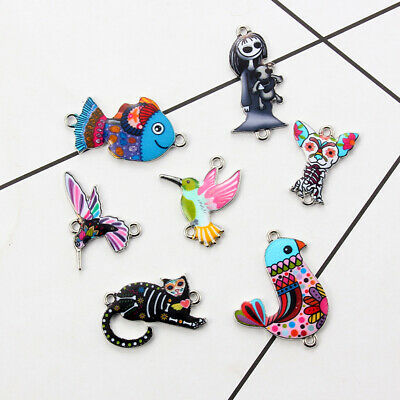 10Pcs Mixed Color Bird Dog Animals Enamel Charms Pendant Connector DIY Jewelry 2