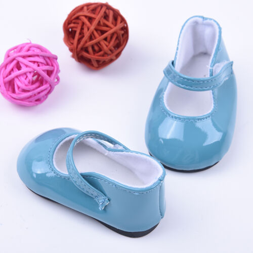 Handmade Blue Leather Boots Shoes for 18inch Doll Party Kids Toy 7
