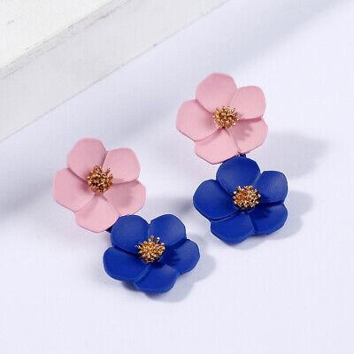 Fashion Crystal Women Flower Drop Dangle Earrings Ear Stud Jewelry Double Layer 8