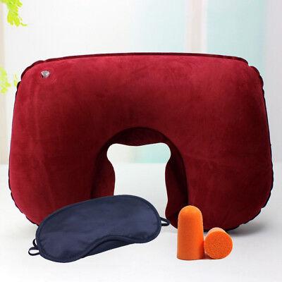 Portable Inflatable Flight Pillow Neck U Rest Air Cushion Eye Mask  Earplug 2