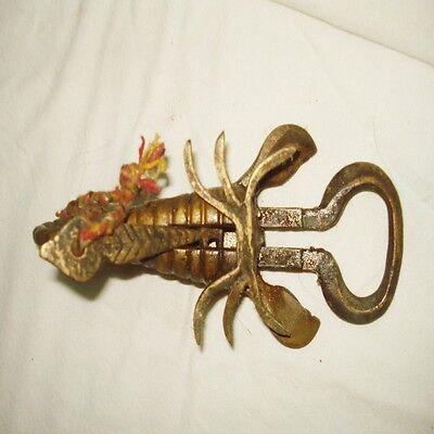 India Vintage Old Original Brass Scorpio Shape Strip System Lock/Key working 3