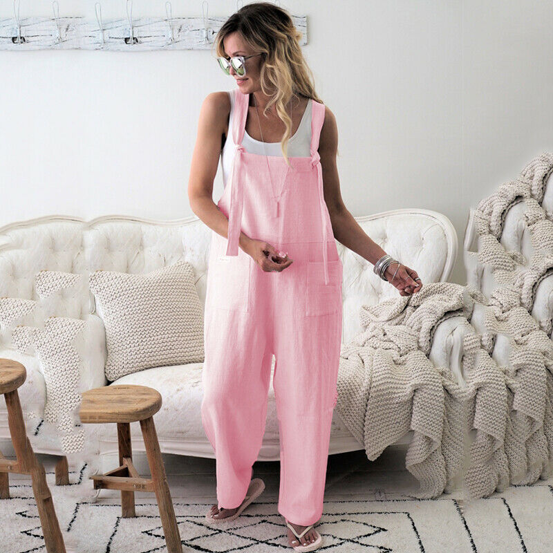 Women Oversized Loose Dungaree Cotton Linen Jumpsuit Playsuit Overalls Trousers 4